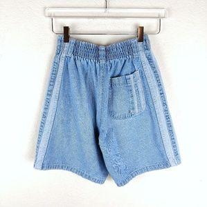 Vtg 90s High Waist Striped Mom Jean Denim Shorts